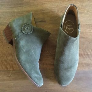 Jack Rogers peyton olive suede ankle boots booties